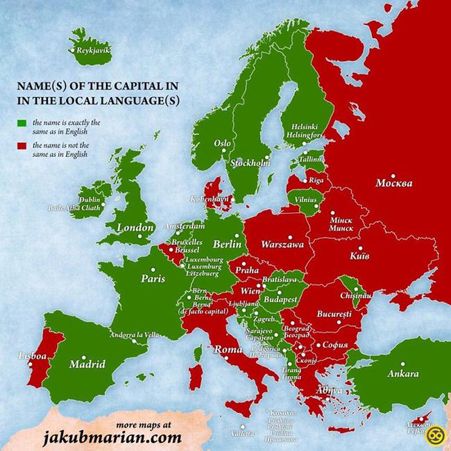 Mapa Capitales De Europa.Nombres De Las Capitales Europeas Escritos En Su Lengua