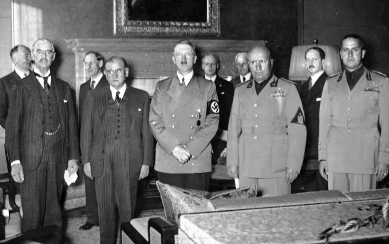 Chamberlain, Daladier, Hitler y Mussolini en Munich, 1938