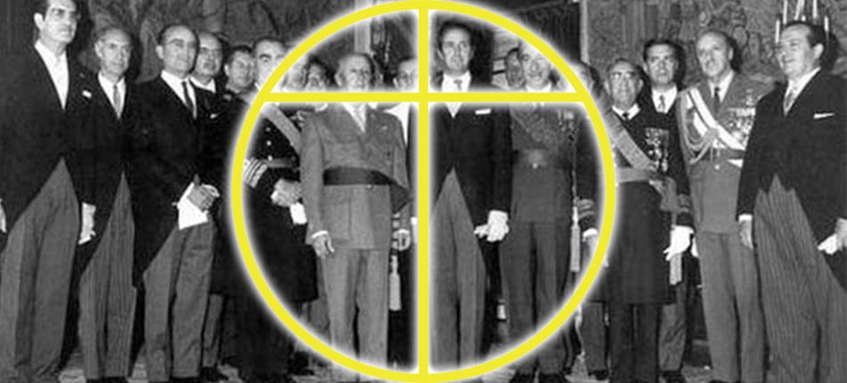 """El dictador Francisco Franco, rodeado de los """"tecnócratas del Opus Dei"""" en 1959."""