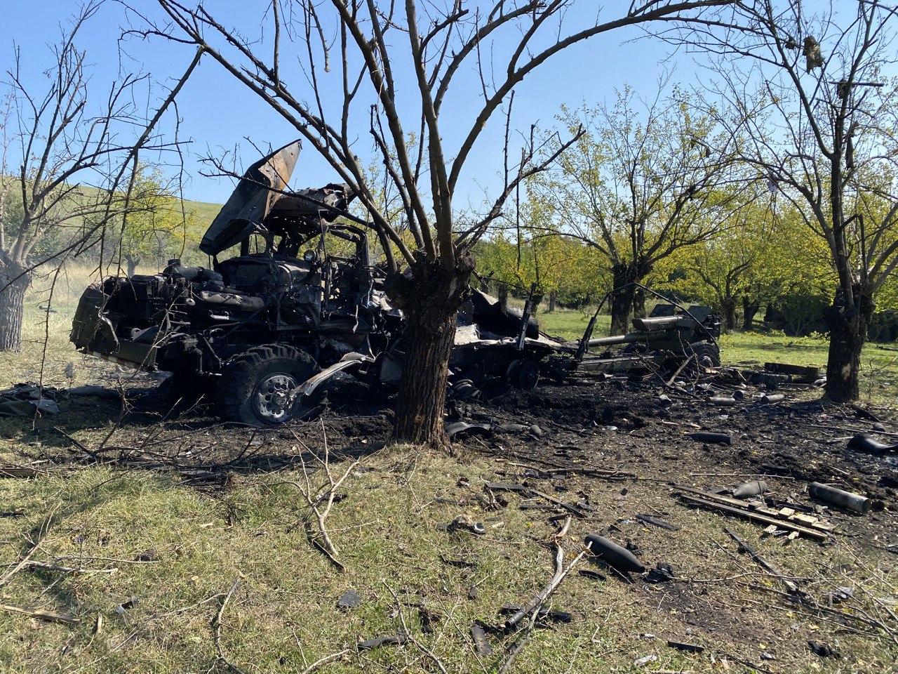 Unidad de artillería armenia destruida (2020). Fuente: Pablo González.